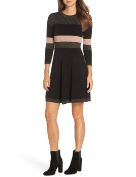 Ribbed Fit & Flare Sweater Dress by Eliza J