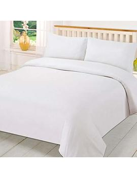 Brentfords Plain Dye Duvet Quilt Cover With Pillow Case Bedding Set   White, Single by Brentfords