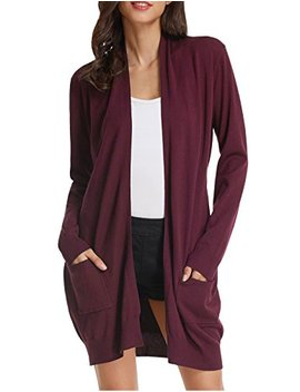 Grace Karin Essential Solid Open Front Long Knited Cardigan Sweater For Women by Grace+Karin