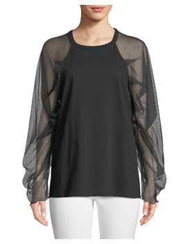 Mesh Sleeve Crewneck Cotton Top by See By Chloe