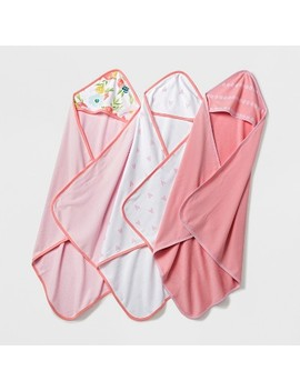 Baby Lightweight 3pk Hooded Towel Set Cloud Island™   Pink/Coral by Cloud Island™