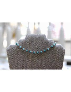 Teal And Gold Beaded Choker by Etsy