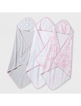Baby Girls' Blushing Pink 3pk Hooded Towels   Cloud Island™ Pink/Gray by Cloud Island™