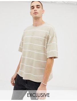 Heart & Dagger Oversized Striped T Shirt In Stone by Heart & Dagger