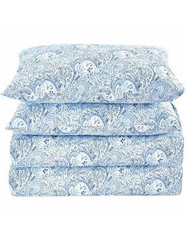 Mellanni Bed Sheet Set Brushed Microfiber 1800 Bedding   Wrinkle, Fade, Stain Resistant   Hypoallergenic   4 Piece (Queen, Paisley Blue) by Mellanni