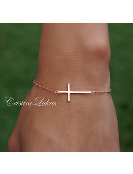 Sideways Cross Bracelet   10 K, 14 K, 18 K Solid Gold Or Silver   Celebrity Style Horizontal Cross Bracelet In Yellow, Rose Or White Gold by Etsy