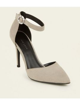 Grey Suedette Buckle Strap Heels by New Look