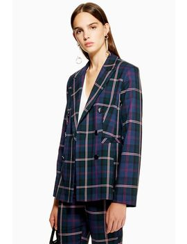 Petite Double Breasted Check Jacket by Topshop