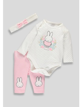 Girls Miffy Bodysuit Leggings And Headband Set (Newborn 12mths) by Matalan