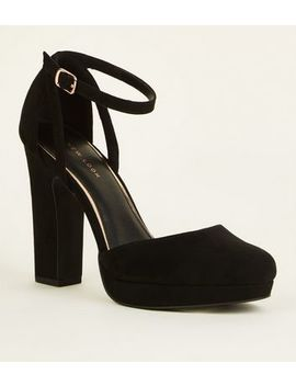 Black Suedette Two Part Platform Courts by New Look