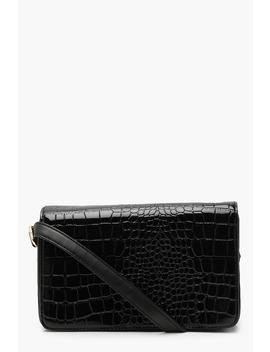 Patent Faux Croc Cross Body by Boohoo