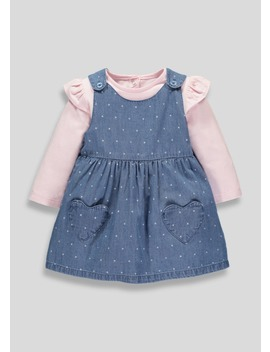 Girls Denim Polka Dot Denim Pinafore & Top Set (Tiny Baby 12mths) by Matalan