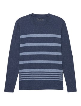 Luxury Touch Stripe Long Sleeve Crew Neck T Shirt by Banana Repbulic