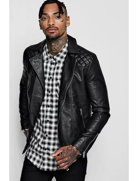 Stitch Detail Faux Leather Biker Jacket by Boohoo Man