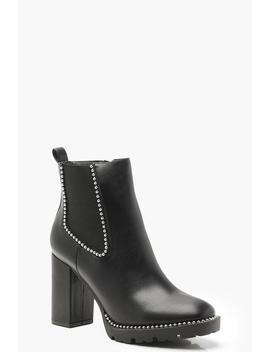 Stud Trim Cleated Heeled Chelsea Boots by Boohoo