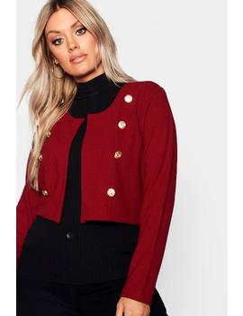 Plus Gold Button Crop Jacket by Boohoo