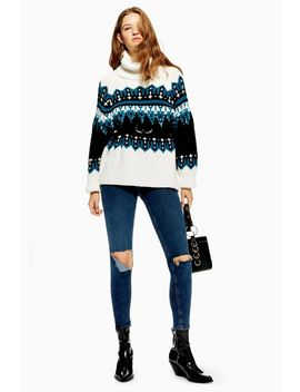 Sequin Oversized Fair Isle Jumper by Topshop