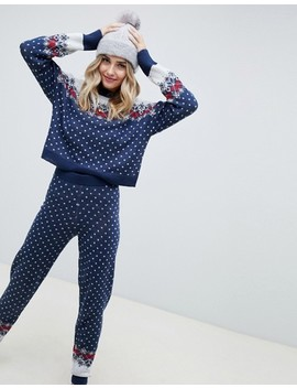 Asos Design Cropped Christmas Co Ord Jumper In Fairisle by Asos Design