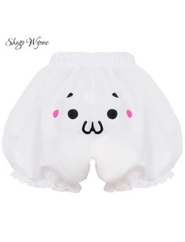 Shugo Wynne 2018 New Women Cute Girl Anime Cos Lolita Style Pumpkin Shorts Bloomers 4 Styles Kawaii Expression Face White Shorts by Shugo Wynne