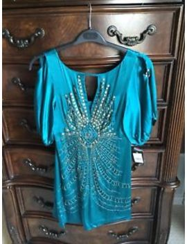 Nanette Lepore Teal Blue Silk Beaded Embellished Dress Size 4 by Nanette Lepore