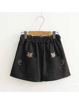 Kawaii Cartoon Embroidery Elastic Waist Straight Wide Leg Winter Woolen Shorts Japan Korean Girl Lolita Student Pantalon Sweet by Yright Mwrong