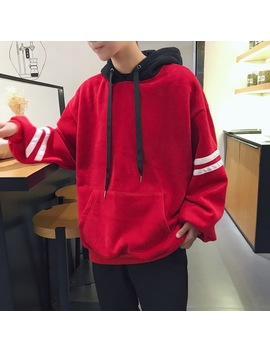 Fashion Casual Men's Hoodie Spring And Autumn New M 2 Xl Stripes Contrast Color Loose Pullover Red Black Personality Youth Popular by Uyuk