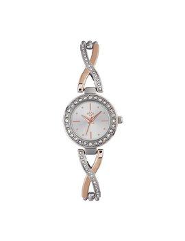 Spirit Ladies' Silver And Rose Gold Stone Set Bracelet Watch by Argos