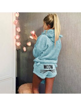 Autumn Winter Pajamas Women Two Piece Pajama Set Warm Coral Fleece Velvet Suit Kawaii Sleepwear Cute Cat Pattern Hoodies Shorts by Jtsh