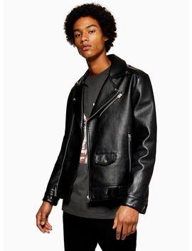 Black Zip Leather Biker Jacket by Topman