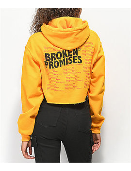 Broken Promises Daily Ritual Gold Crop Hoodie by Broken Promises