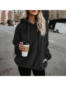 Flannel Long Oversized Hoodie Sweatshirt Plus Size Women Clothing Warm Fleece Womens Hoodies Pullover Winter Coat Poleron Mujer by Jtsh