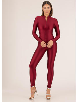 Sheen Stealer Zip Front Nylon Jumpsuit by Go Jane