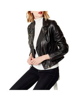 Karen Millen Leather Biker Jacket, Black by Karen Millen