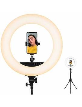 Ring Light, Esddi 18inch 100 W Led Dimmable Ring Light, Adjustable Color Temperature 3200 K 5800 K, Stand Phone Holder, Hot Shoe Adapter For Portrait You Tube Video, Vlog And Makeup by Esddi