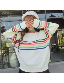Women's Japanese Harajuku Cute Sweet Rainbow Stripe Loose Long Sleeve Sweater Female Korean Kawaii Knitted Jumper And Pullover by Cbucyi