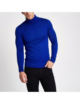Blue Slim Fit Roll Neck Jumper by River Island