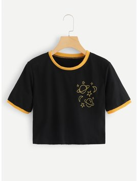 Planet Print Ringer Tee by Romwe