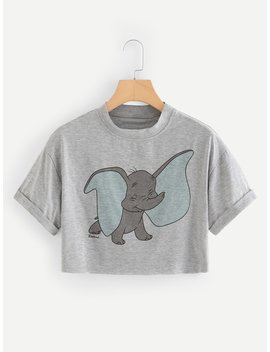 Elephant Print Cuffed Crop Tee by Romwe