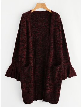 Ruffle Cuff Pocket Front Space Dye Sweater Coat by Shein