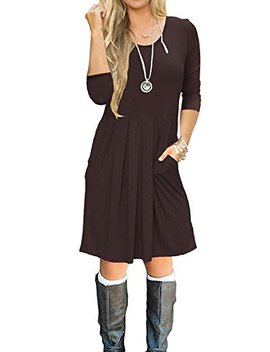 Souq Fone Women's Pleated Loose Swing Casual T Shirt Dress With Pockets Knee Length by Souq Fone