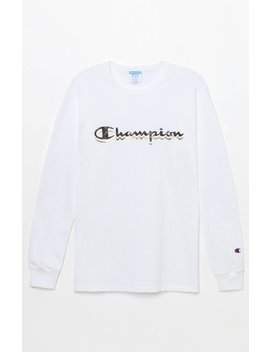 Champion Camo Script Long Sleeve T Shirt by Pacsun