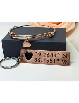 Personalized Keychain, Coordinate Jewelry, Graduation Gift, Couples Set Custom Hand Stamped Coordinate Keychain With Heart Bangle by Etsy