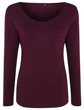 Plum Long Sleeve Jersey Pyjama Top by Asda