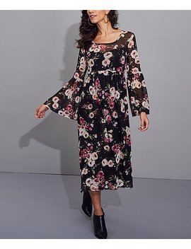 Black & Pink Floral Lined Mesh Midi Dress   Women & Plus by Zulily