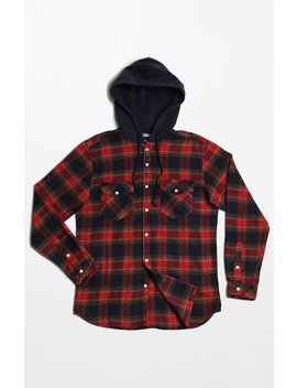 Imperial Motion Greenwhich Hooded Flannel Long Sleeve Button Up Shirt by Pacsun