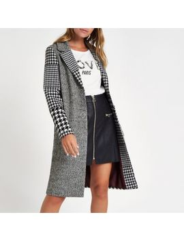 Petite Grey Check Longline Coat by River Island