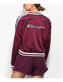 Champion Burgundy & Blue Taping Track Jacket by Champion