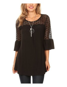 Black Lace Panel Top   Plus by One Fashion By Cozy Collection