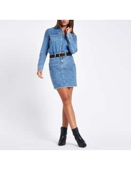 Mid Blue Denim Rhinestone Stud Oversized Shirt                      Mid Blue Stud Embellished Denim Mini Skirt by River Island