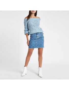 Mid Blue Stud Embellished Denim Mini Skirt                Mid Blue Denim Rhinestone Stud Oversized Shirt by River Island